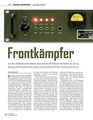 Professional Audio Frontkämpfer: JDK AUDIO MP-R20