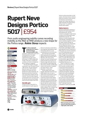 Future Music Rupert Neve Designs Portico 5017