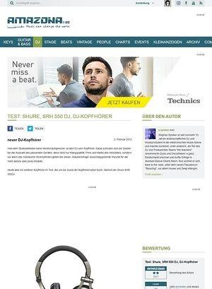 Amazona.de Test: Shure, SRH 550 DJ, DJ-Kopfhörer