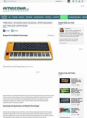 Amazona.de Preview: Studiologic Sledge, Synthesizer mit Waldof-Synthese