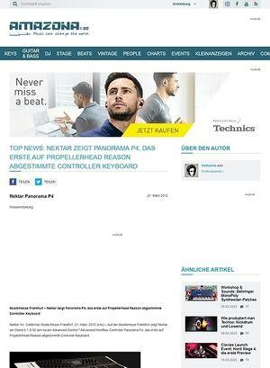 Amazona.de Top News: Nektar zeigt Panorama P4, das erste auf Propellerhead Reason abgestimmte Controller Keyboard