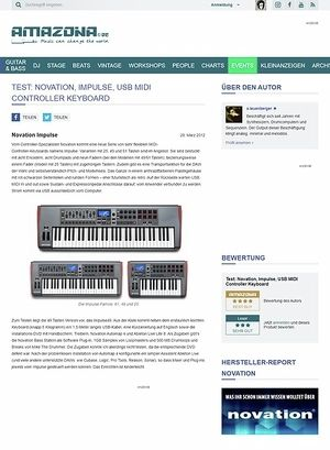 Amazona.de Test: Novation, Impulse, USB MIDI Controller Keyboard