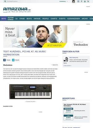 Amazona.de Test: Kurzweil, PC3 K6, K7, K8, Music Workstation
