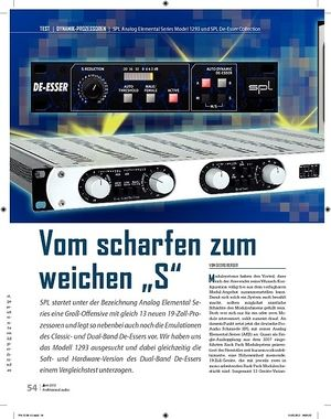 Professional Audio SPL Analog Elemental Series Model 1293 und SPL De-Esser Collection