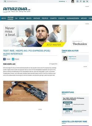 Amazona.de Test: RME, HSDPe AIO, PCI-Express (PCIe) Audio Interface