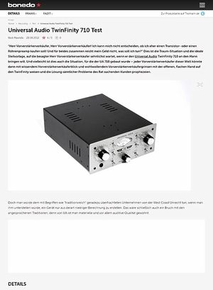 Bonedo.de Universal Audio TwinFinity 710