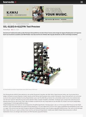 Bonedo.de Test Preview: SSL 611EQ & 611DYN Test