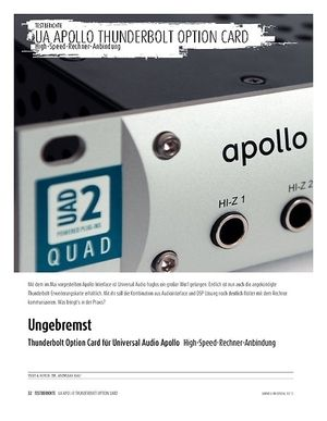 Sound & Recording Thunderbolt Option Card für Universal Audio Apollo - High-Speed-Rechner-Anbindung
