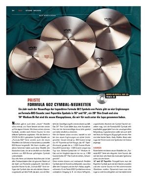 Sticks Paiste Formula 602 Cymbal-Neuheiten