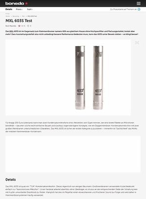 Bonedo.de MXL 603S Test