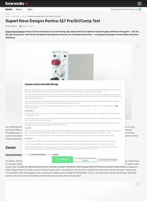 Bonedo.de Rupert Neve Designs Portico 517 Pre/DI/Comp Test