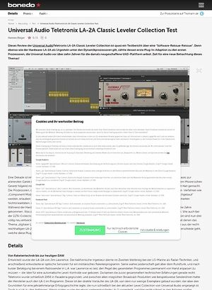 Bonedo.de Universal Audio Teletronix LA-2A Classic Leveler Collection Test