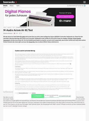 Bonedo.de M-Audio Axiom Air 61 Test