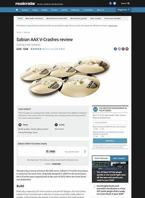 MusicRadar.com Sabian AAX V-Crashes