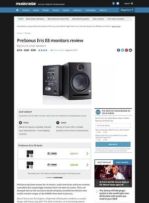 MusicRadar.com PreSonus Eris E8 monitors