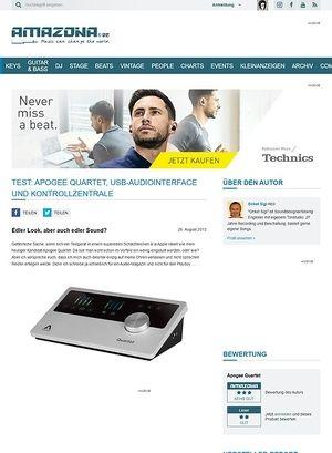 Amazona.de Test: Apogee Quartet, USB-Audiointerface und Kontrollzentrale