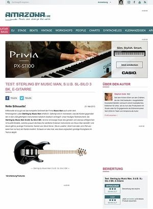Amazona.de Test: Sterling by Music Man, S.U.B. SL-Silo 3 BK, E-Gitarre