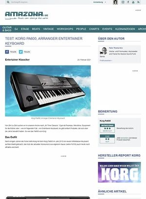 Amazona.de Test: Korg PA600, Arranger Keyboard