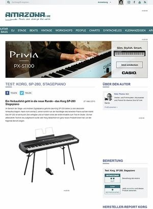 Amazona.de Test: Korg, SP-280, Stagepiano
