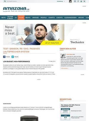 Amazona.de Test: Samson, RS 15HD, Passives Lautsprecher System