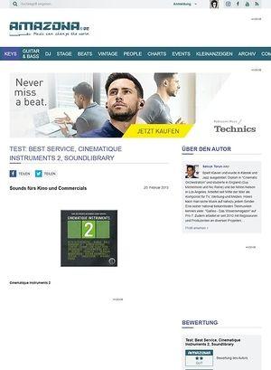 Amazona.de Test: Best Service, Cinematique Instruments 2, Soundlibrary