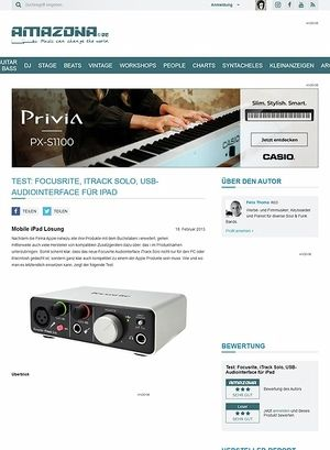 Amazona.de Test: Focusrite, iTrack Solo, USB-Audiointerface für iPad