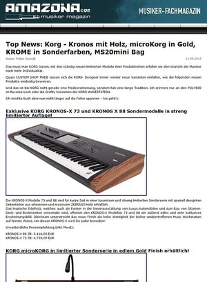 Amazona.de Top News: Korg - Kronos mit Holz, microKorg in Gold, KROME in Sonderfarben, MS20mini Bag
