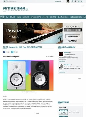 Amazona.de Test: Yamaha HS8, Studiomonitore