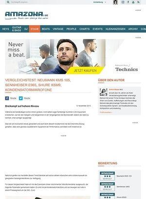 Amazona.de Vergleichstest: Neumann KMS 105, Sennheiser e965, Shure KSM9, Kondensatormikrofone
