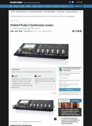 MusicRadar.com Waldorf Pulse 2 Synthesizer