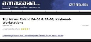 Amazona.de Top News: Roland FA-06 & FA-08, Keyboard-Workstations