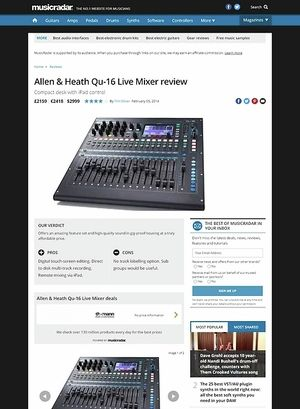 MusicRadar.com Allen & Heath Qu-16 Live Mixer
