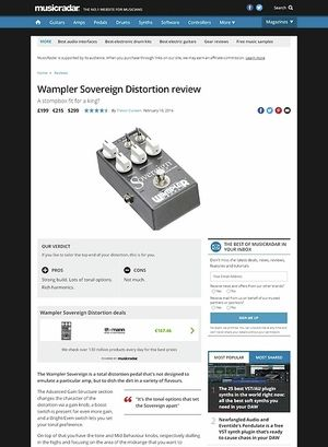 MusicRadar.com Wampler Sovereign Distortion