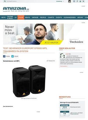 Amazona.de Test: Behringer Europort EPS500 MP3, tragbares PA-System