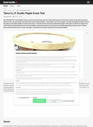 """Bonedo.de Tama 14"""" x 6,5"""" S.L.P. LMP1465F-SEN Studio Maple Snare"""