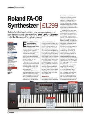 Future Music Roland FA-08 Synthesizer