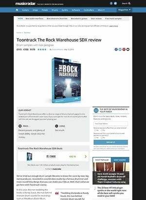 MusicRadar.com Toontrack The Rock Warehouse SDX