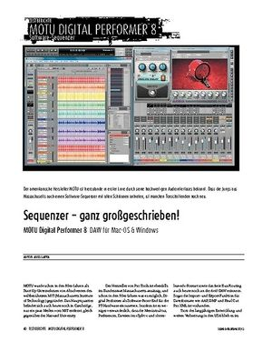 Sound & Recording MOTU Digital Performer 8 - Digital Audio Workstation für Mac-OS & Windows