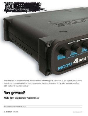 Sound & Recording MOTU 4pre - Audiointerface