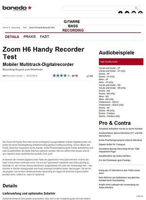 Bonedo.de Zoom H6 Handy Recorder