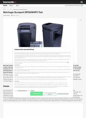 Bonedo.de Behringer Europort EPS500MP3