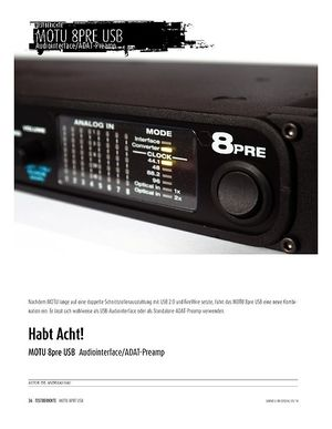 Sound & Recording MOTU 8pre USB - Audiointerface & ADAT-Preamp