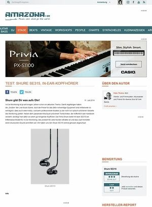 Amazona.de Test: Shure SE315, In-Ear-Kopfhörer