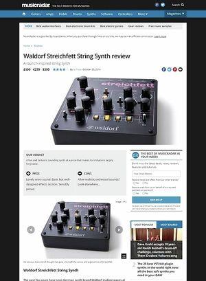 MusicRadar.com Waldorf Streichfett String Synth