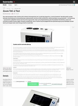 Bonedo.de Zoom TAC-2 Test