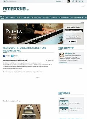 Amazona.de Test: Zoom H5, Mobiler Recorder und Audiointerface