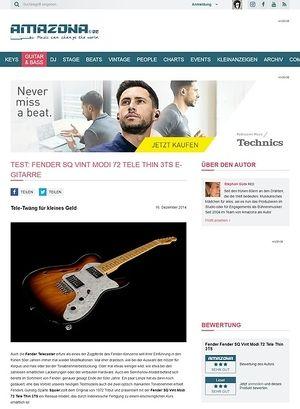 Amazona.de Test: Fender SQ Vint Modi 72 Tele Thin 3TS, E-Gitarre