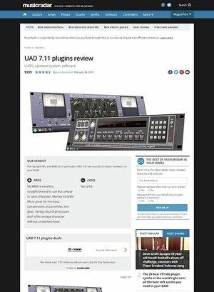 MusicRadar.com UAD 7.11 plugins