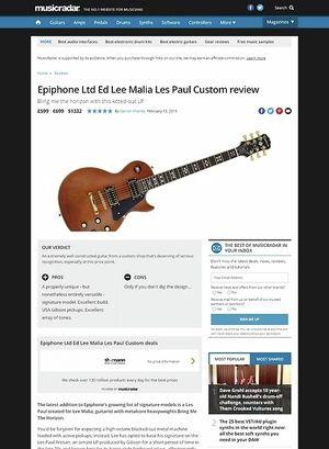 MusicRadar.com Epiphone Lee Malia Les Paul Custom