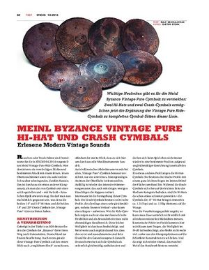 Sticks Meinl Byzance Vintage Pure Hi-Hats & Crash-Cymbals